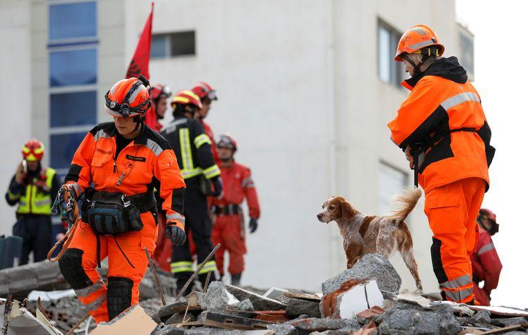 Reddingswerkers en honden gisteren op zoek naar slachtoffers van de aardbeving in Albanië.