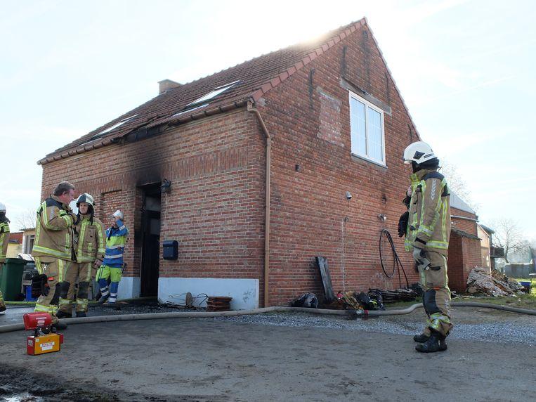 Het huis in de Twaalfbunder waar brand ontstond in een elektriciteitskast.