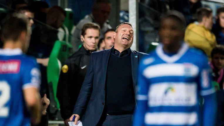 Ron Jans pakt met PEC Zwolle een punt tegen Heracles. Beeld anp