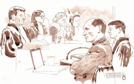 Archieffoto: Tekening van Volkert van der G. in de rechtbank van Amsterdam, met rechts advocaat Willem Jebbink, tweede van links voorzitter Vogel en links Officier van Justitie Robben.