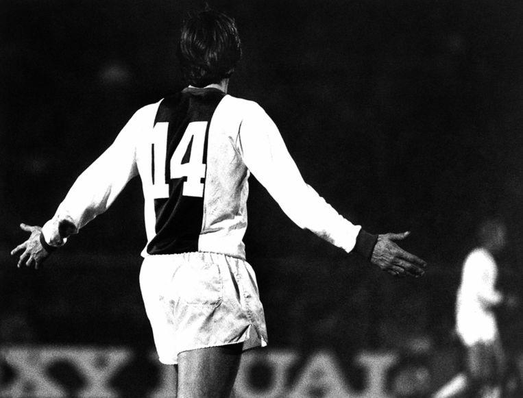 Cruijff in 1978 in Ajax-tenue. Beeld anp