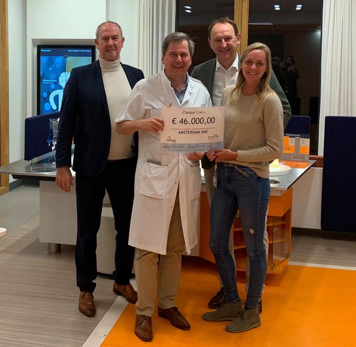 Ko Zwemer (links) en Wim Broers (achter) stelden  het geld ter beschikking.
