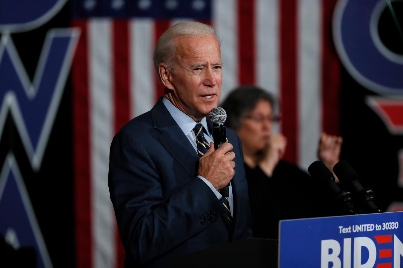 De Democratische presidentskandidaat en vroegere vicepresident Joe Biden tijdens een campagnebijeenkomst in Oskaloosa, Iowa.