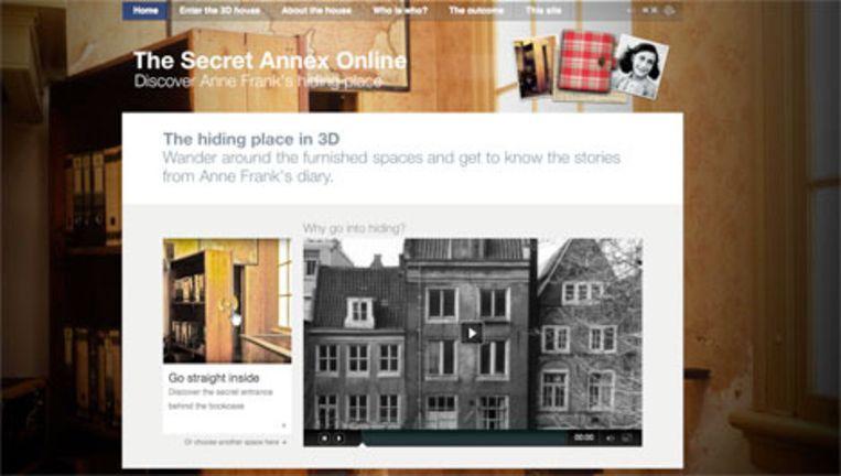 Het Achterhuis online. Beeld www.Annefrank.org Beeld