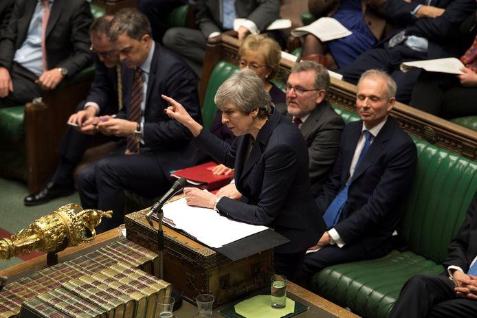 Premier Theresa May eergisteren in het Britse Lagerhuis.