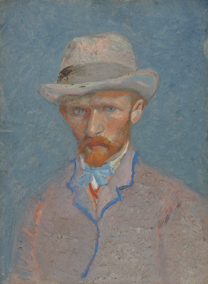 Links: broer Theo door Vincent en een zelfportret, uit 1887.