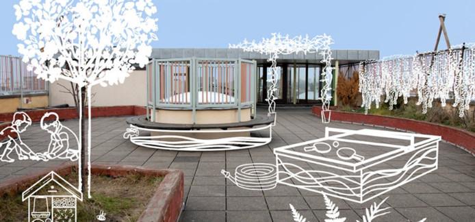 Het eerste dak is de klimaatrobuuste dakspeelplaats die middelbare Steinerschool Hibernia gaat uitbouwen.