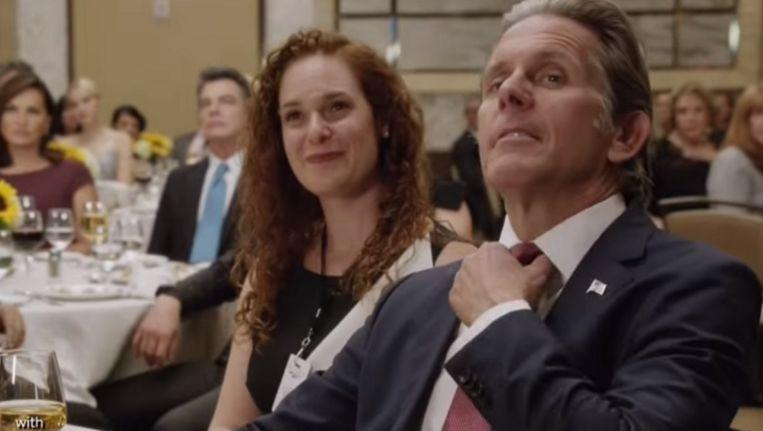 Beeld uit de trailer van Law & Order: SVU met Gary Coole als 'Trump-achtige miljonair'. Beeld .