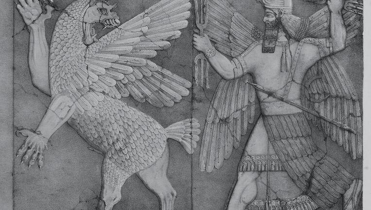 Ninurta die Anzû achtervolgt als hij de plaat van de bestemming stelt. Beeld Wikipedia