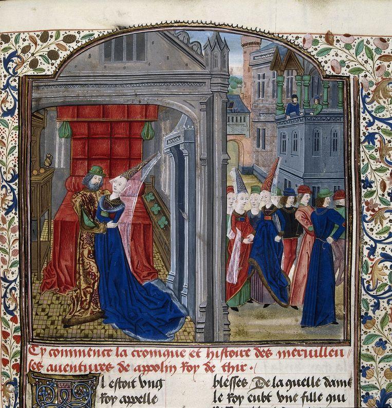 De roman begint met een incestscène, hier in een Franstalig manuscript uit de late vijftiende eeuw. Beeld The British Library Board