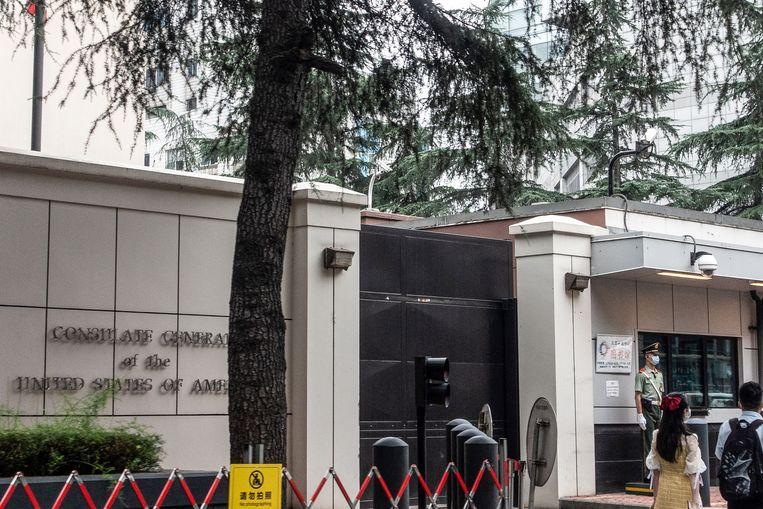 Het Amerikaanse consulaat in Chengdu. Beeld Hollandse Hoogte/AFP