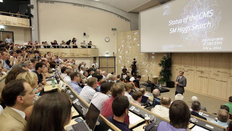 De presentatie van testresultaten in de zoektocht naar het Higgs-deeltje, vandaag. Beeld anp