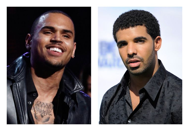 Chris Brown (links) en Drake.