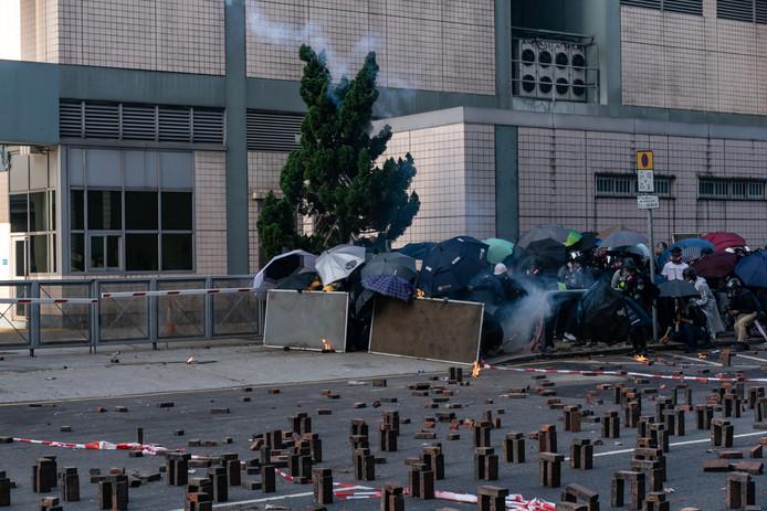 Barricades van de betogers