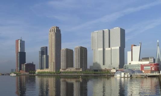 Pal voor het gebouw De Rotterdam zijn de torentjes van Boston en Seattle hier ingetekend.