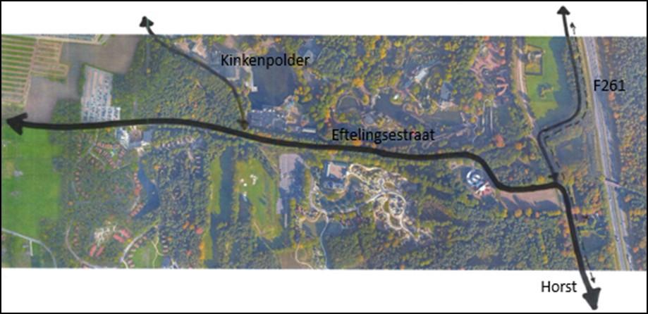De toekomstige zuidelijke ontsluiting vanaf de Horst over de Eftelingsestraat richting parkeerterreinen. Deze nieuwe toegangsweg wordt straks gebruikt op hele drukke dagen als de Europalaan niet al het verkeer meer vlot kan verwerken. F261 is de nog aan te leggen snelfietsroute.