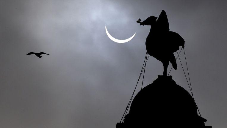 De zonsverduistering, gezien vanuit Liverpool. Beeld ap