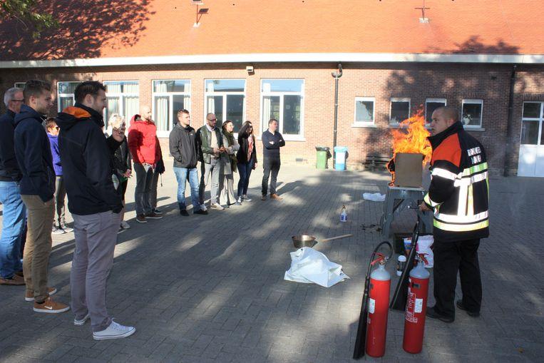 Ook brandevacuatie stond op de agenda van de pedagogische studiedag.