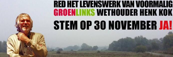 De afbeelding waarmee Gerrie Elfrink campagne voert voor een ja-stem. bij het referendum over Stadblokken-Meinerswijk.