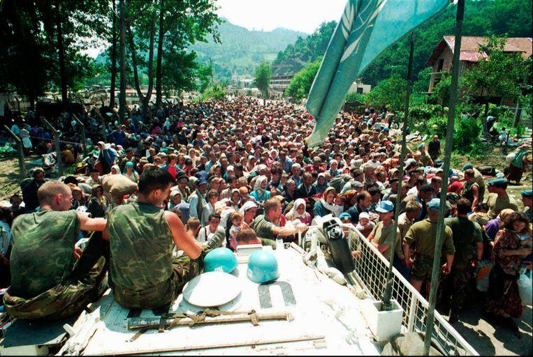 Dutchbatters zien hoe moslimvluchtelingen uit Srebenica zich op 13 juli 1995 verzamelen in het dorp Potocari, 5 kilometer ten noorden van Srebenica. Beeld AP