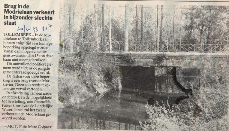 Dit artikel verscheen in 1993 in onze krant. Toen was al duidelijk dat de brug in slechte staat verkeerde.