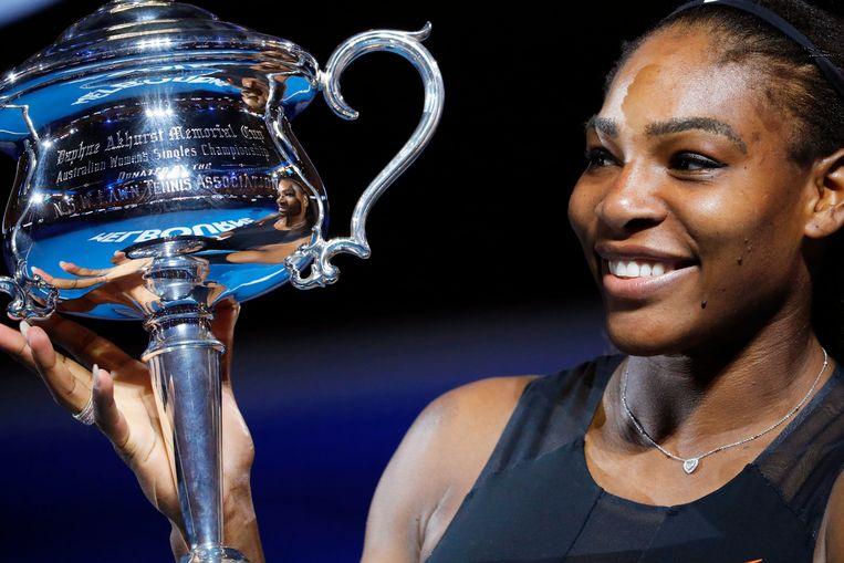 Serena Williams begin dit jaar, met de trofee van de Australian Open.