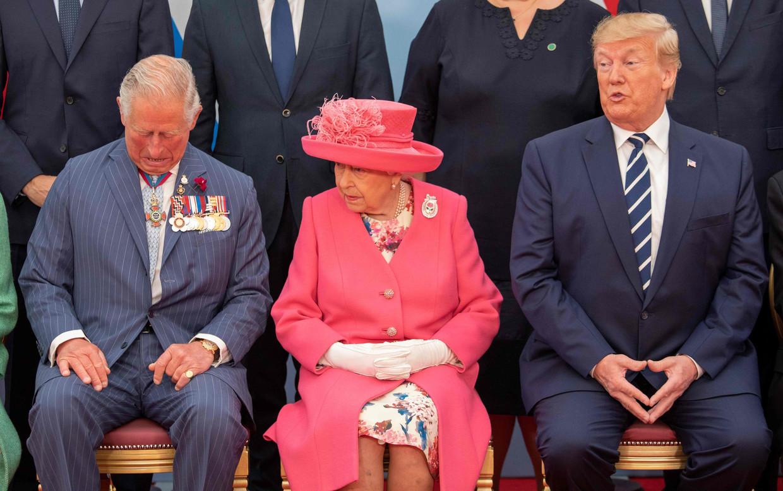 De Britse prins Charles, koningin Elizabeth en de Amerikaanse president Donald Trump bij een D-day herdenkingsbijeenkomst in Portsmouth, 5 juni 2019.