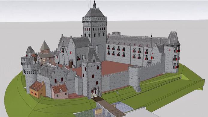 3D-animatie van de vroegere Valkhofburcht in Nijmegen zoals die er kort voor de sloop in 1796 heeft uitgezien.