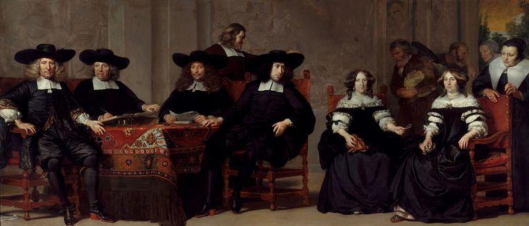 Adriaen Backer (1630-1684), De regenten en regentessen van het Oude Mannen- en Vrouwengasthuis. Beeld Collectie Amsterdam Museum