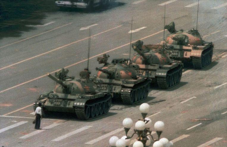 Tankman, Plein van de Hemelse Vrede, 1989 Beeld Reuters