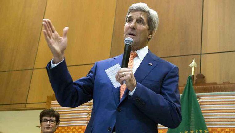De Amerikaanse minister van Buitenlandse Zaken John Kerry tijdens een toespraak in Ethiopië.