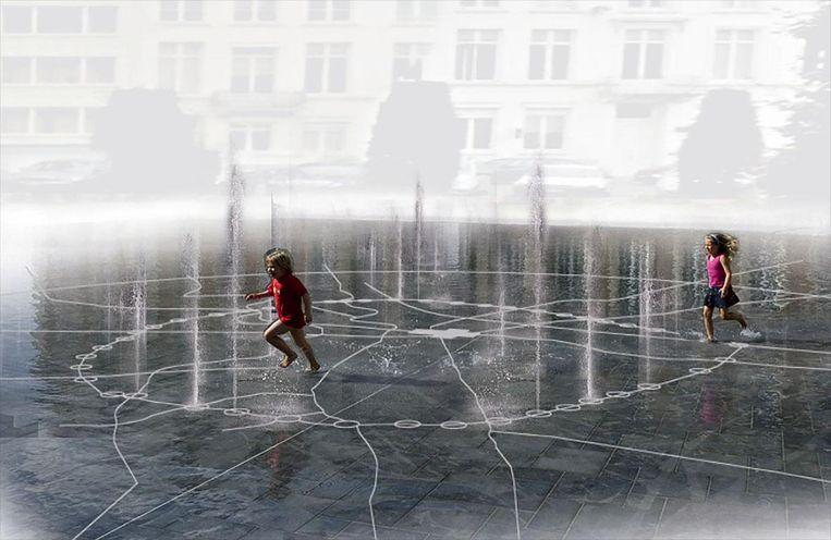 De fontein op het Herbert Hooverplein is een oud grondplan van de stad, met de elf stadspoorten op aangeduid.