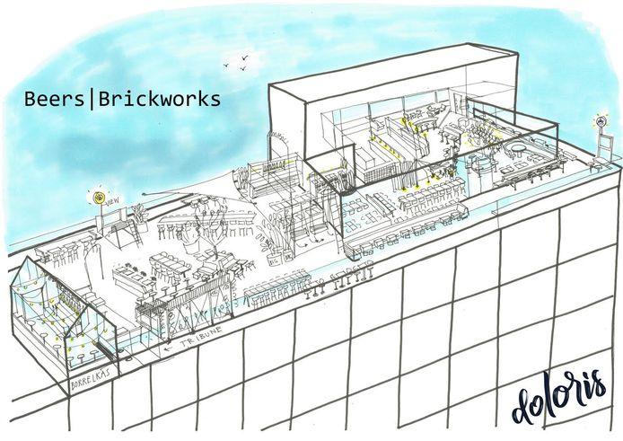 Het ontwerp voor de nieuw rooftop-bar van Tilburg.