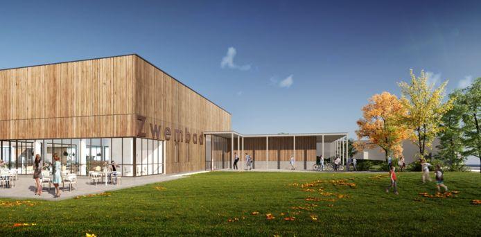 De buitenkant van het nieuwe zwembad, met veel ramen en een gevel in hout.