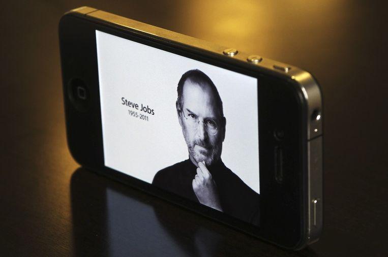 Jobs op de iPhone 4... Beeld reuters