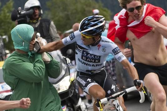 Contador had het dit jaar zwaar in de Tour de France. Hij werd uiteindelijk 5de.