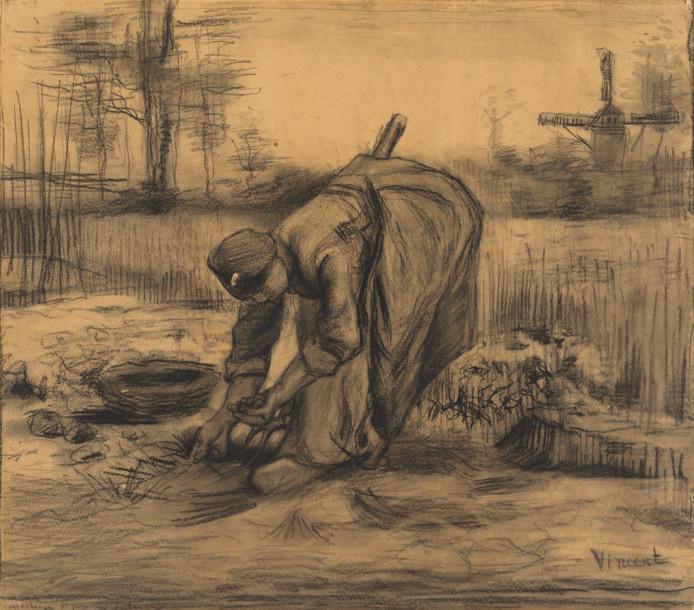 Vincent van Gogh, Aardappelrooiende boerin, Nuenen, augustus 1885. Collectie Van Gogh Museum, Amsterdam.