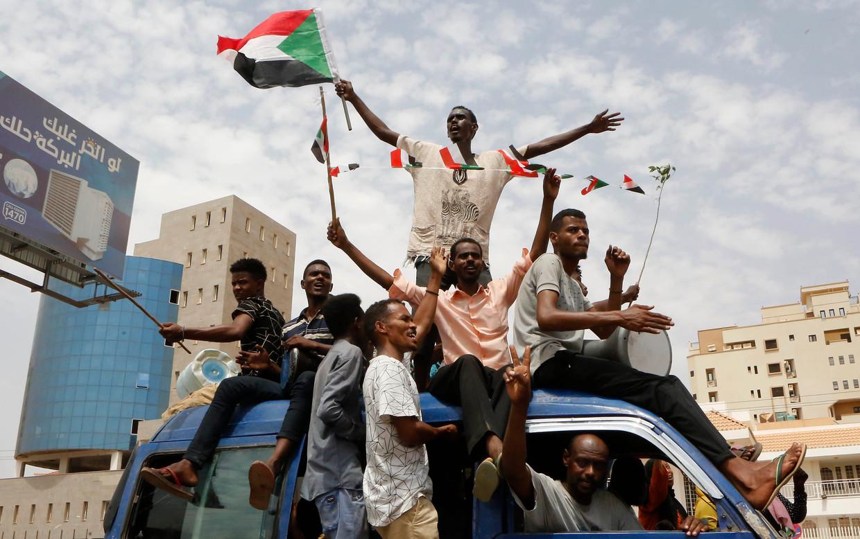 Demonstranten in Soedan. Beeld AFP