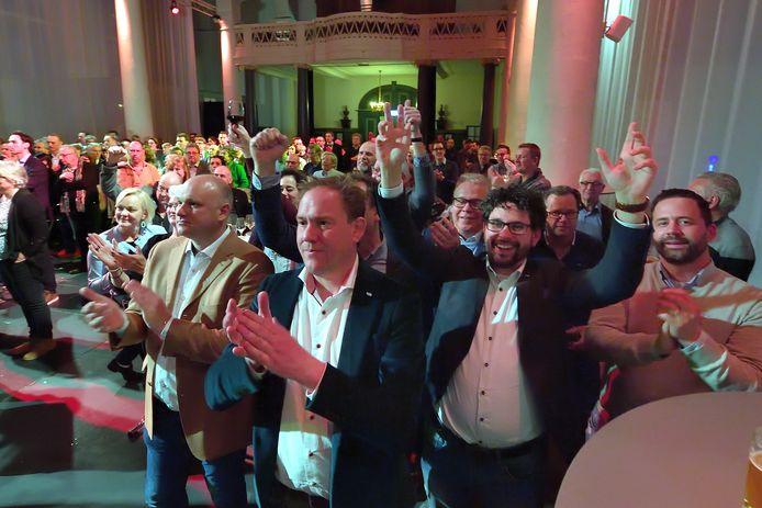 Gejuich bij de VLP bij de uitslagenavond in de Sint Jan in 2018. De partij was een van de grote winnaars die avond.