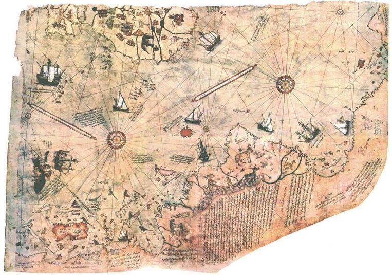 Reis-kaart. Turkse admiraal Piri Reis tekende rond 1500 een wereldkaart die volgens Von Däniken door de kosmonauten is ingefluisterd. Toeval en hedendaags hineininterpretieren, denken cartografen. Beeld