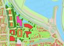 Mogelijke inrichting woonzorgzone Geldersedijk, rood is bestaande bebouwing, roze is het kindcentrum met twee scholen en oranje zijn woongebouwen met zorgfunctie.