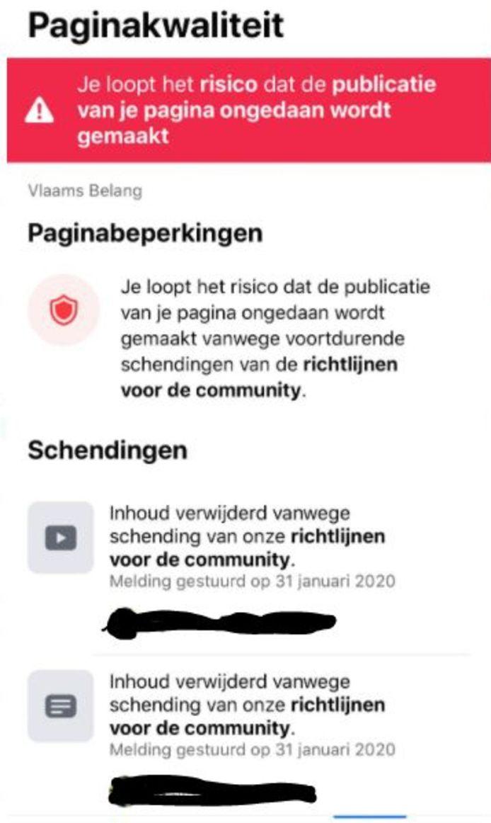 Facebook waarschuwt Vlaams Belang voor afbeeldingen van Zwarte Piet en dreigt ermee de pagina te verwijderen.