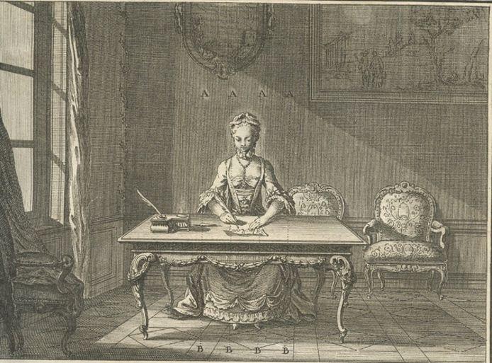 Plaat uit L'Art d'écrire réduit à des demonstrations vraies et faciles, avec des explications claires pour le Dictionnaire des Arts, te koop bij Rob de Bree op de Deventer Boekenmarkt.