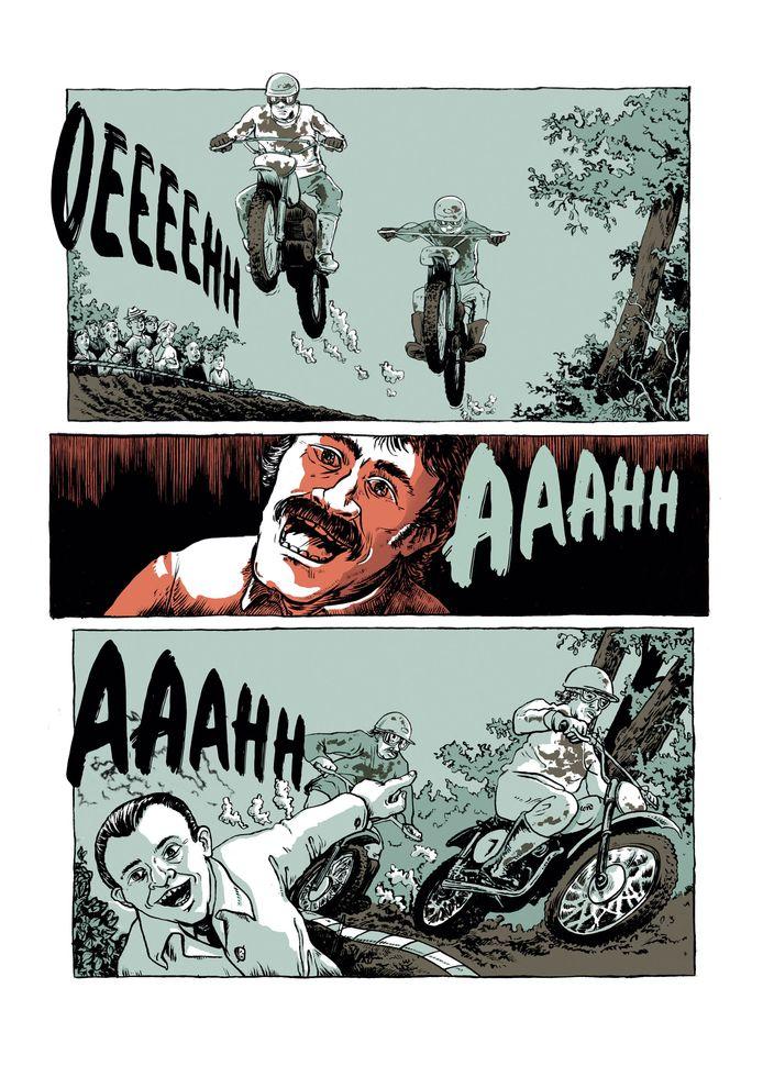 Een van andere de pagina's uit de strip over 'Oerend Hard'.