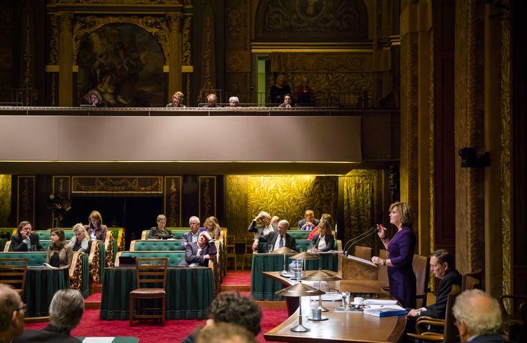 Pia Dijkstra (D66) spreekt eind januari tijdens het debat in de Eerste Kamer over het initiatiefvoorstel om een actief donorregistratiesysteem in te voeren. Beeld ANP