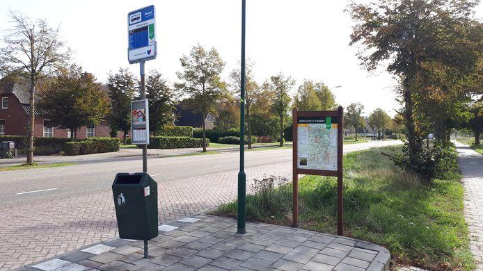 De 'groene' bushalte Udenseweg in Nistelrode met (rechts) het nieuwe informatiebord.