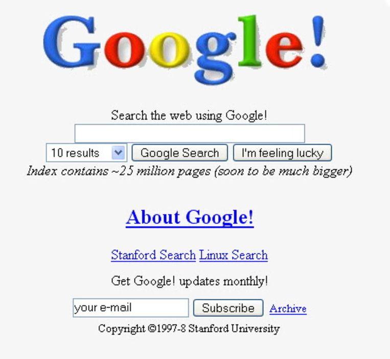 Een van de eerste versies van de Google Search-startpagina. Beeld EPA