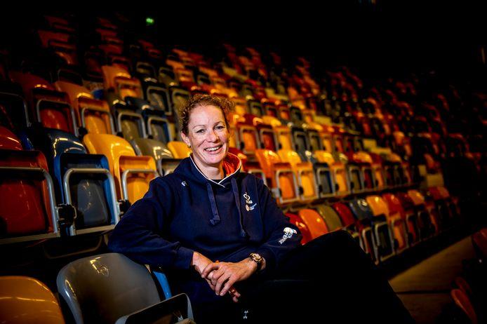Kirsten WIld op de tribune van het Omnisportcentrum waar woensdag het EK baanwielrennen begint.