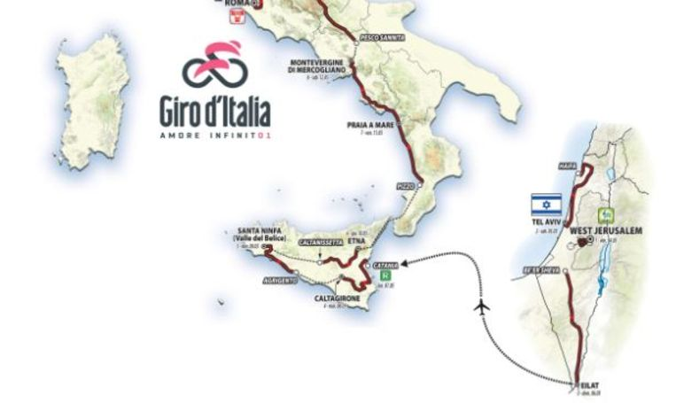 Route Giro 2018 in Israël. Beeld AFP