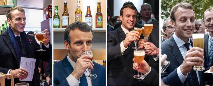 President Emmanuel Macron aan het bier